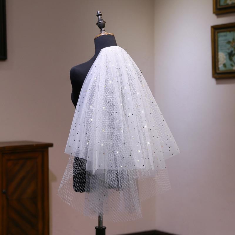 Velo de novia corto nupcial blanco de 2 capas con lentejuelas con...