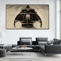 abstract retro skull print poster vintage movie black car canvas painting wall art pictures for living room parlour decor