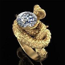 Huitan cobra rei design hyperbole forma feminino anel de zircão antiga lenda da cabeça cobra luxo cor ouro punk jóias