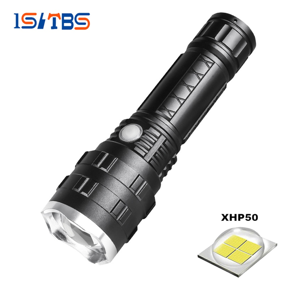 Flashlight LED XHP50 Chip Ultra Bright Torch Outdoors Waterproof Zoomable Rechargeable 18650/28650 Battery Hiking Camping Light