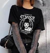 1pcs Cool  T Shirt Beetlejuice I Myself Am Strange And Unusual Black T-Shirt Women Cute Grunge Gothic Tee Halloween Witch Shirt