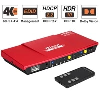 hdmi switch 4x1 out with spdif and lr audio output support hdtv 4k60hz 444 ir remote control