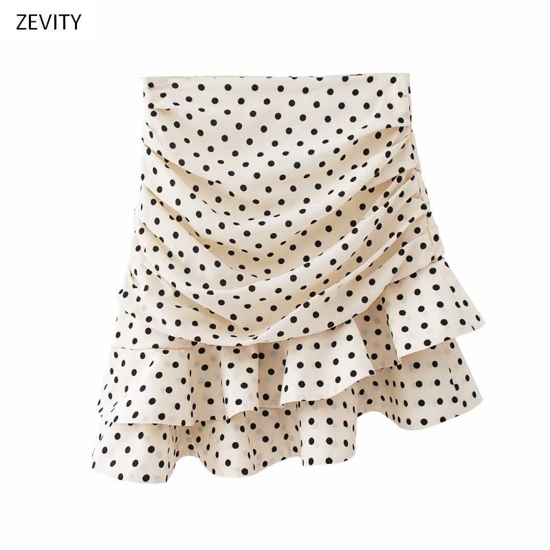 Women fashion polka dot print pleated asymmetrical skirt faldas mujer ladies back zipper vestidos chic ruffles skirts QUN379
