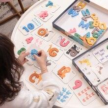 Puzzles 3d de lettres et de chiffres puzzle Alphabet jumelé carte préscolaire apprentissage jouets éducatifs pour les tout-petits en bois jouet