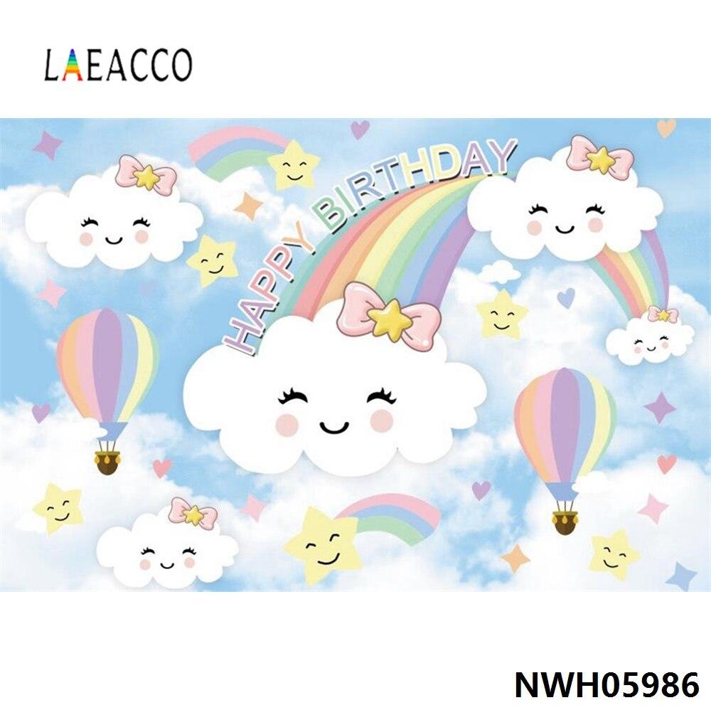 Arco-íris adorável nuvem estrela feliz festa de aniversário do bebê poster retrato fotografia pano de fundo foto photocall photo studio