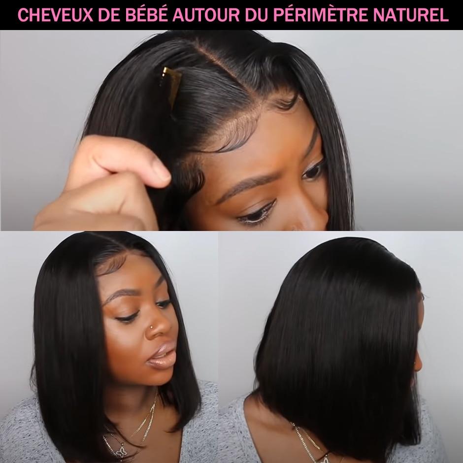 Straight Bob Human Hair Wigs 4X4 Lace Closure Bob Wigs Straight Short Bob Wig ISEE HAIR Malaysian Lace Frontal Human Hair Wigs