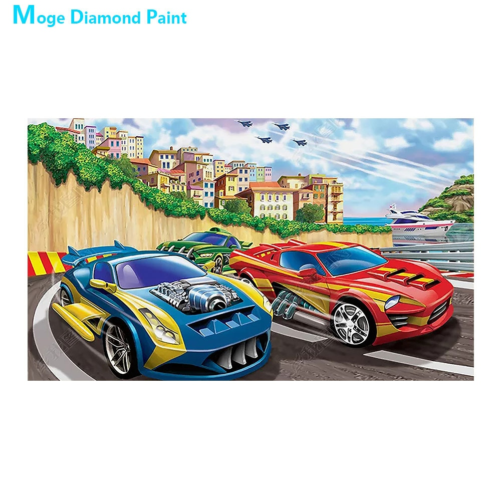 Peinture en mosaïque 5D point de croix   Course de sport, peinture au diamant, dessin animé, perceuse complète ronde, Nouveaute bricolage, décoration de maison