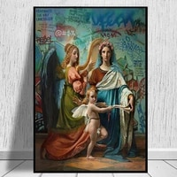 graffiti religion virgin mary and angel canvas painting wall art catholic pictures canvas poster and prints home decor cuadros