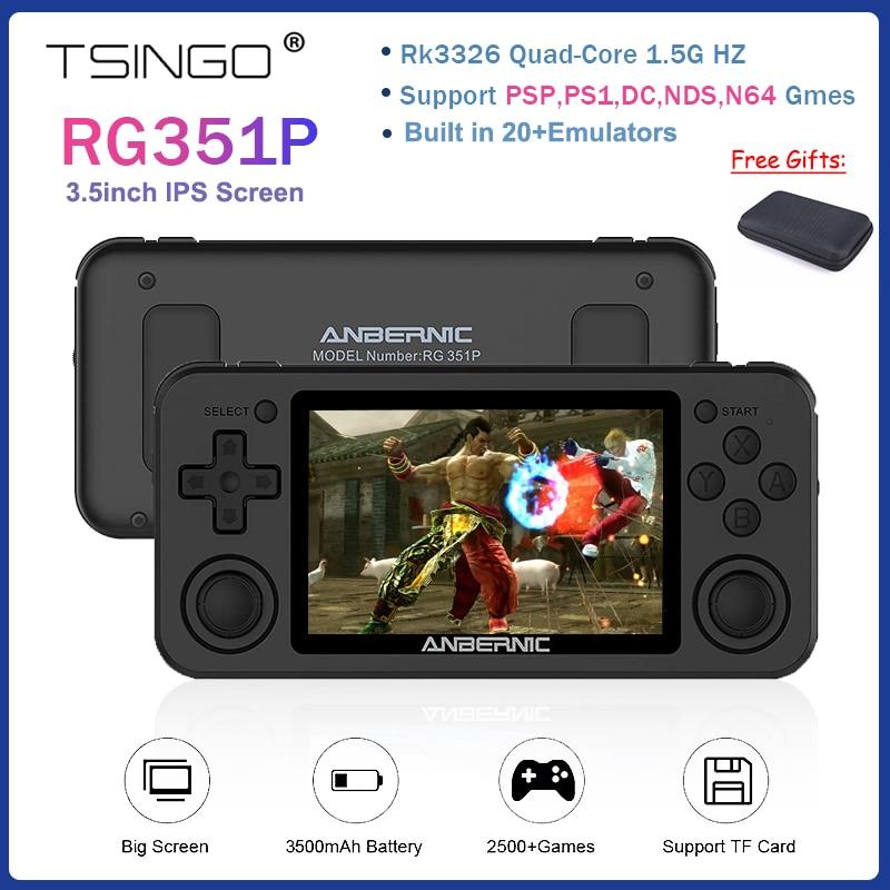 TSINGO RG351P جديد ريترو يده الألعاب وحدة التحكم RK3326 واي فاي نظام لينكس 3.5 بوصة حامل شاشة GBC/NDS/PSP/PS1 RG350P RG350