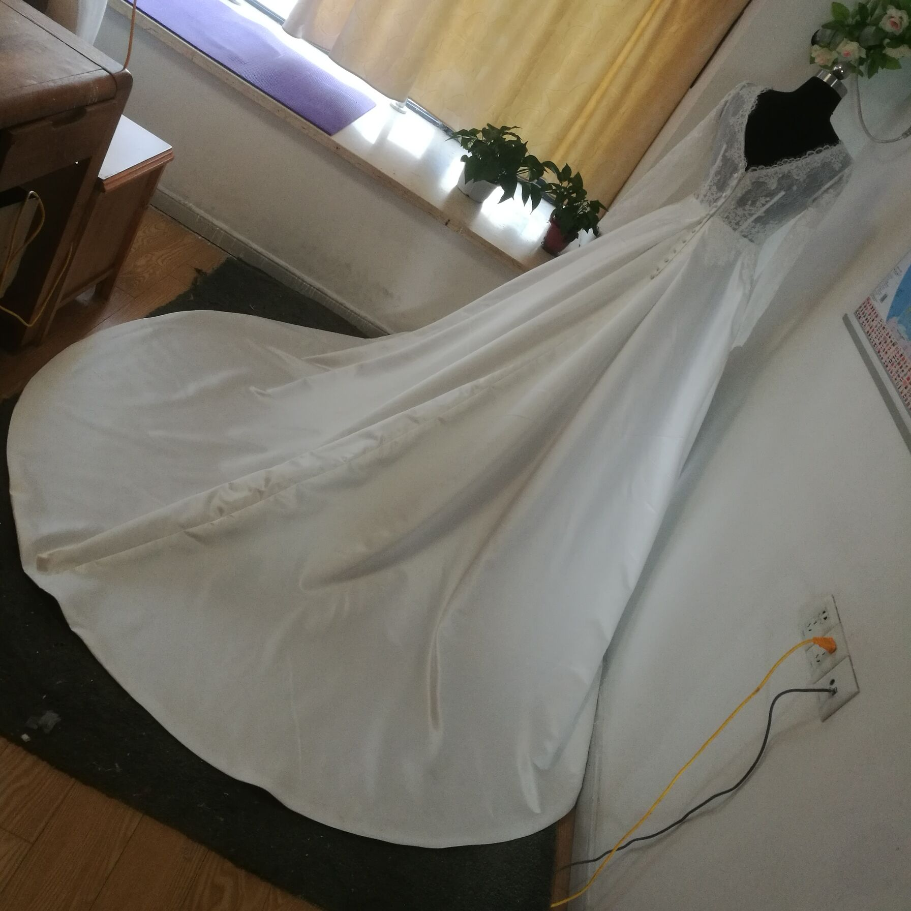 MYYBLE Physical pictures Long Sleeve Stain Wedding Dresses Bride A-Line wedding gown Lace Vestido de Noiva Casamento cheap
