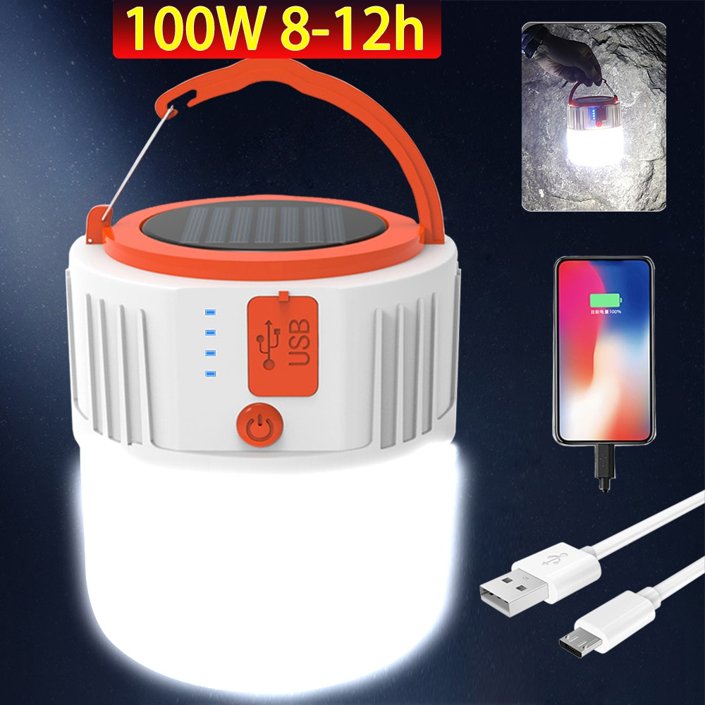 LED Solar Camping Light USB Camping Lantern Ip65 Voice And Remote Control Rechargeable Portable Lamp For Outdoor Tent Hiking camping light rechargeable lamp portable lantern flashlight for camping tent with solar battery led solar lantern