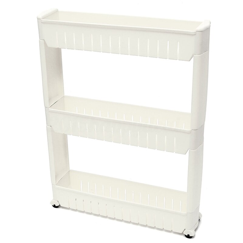 Slim Slide Out Kitchen Trolley Rack Holder Storage Shelf Tower Folding 3 Tire, White