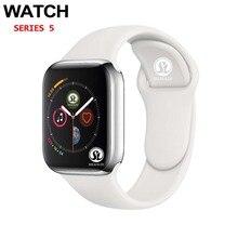 50% 할인 남성 여성 블루투스 스마트 시계 시리즈 4 SmartWatch for Apple iOS iPhone Xiaomi 안드로이드 스마트 폰 (레드 버튼)