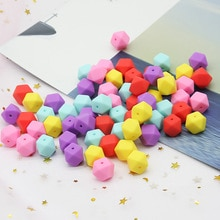Cute-Idea 20pcs 17mm silicone hexagon beads teether soft chewable handmade jewelry necklace bracelet