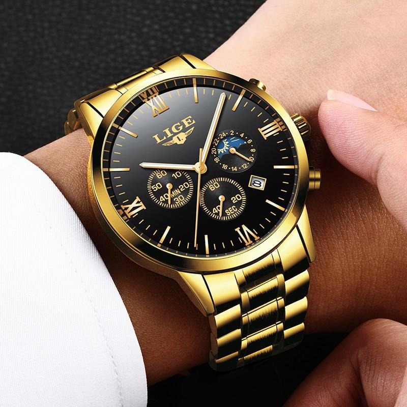 ييج رجل الساعات العلامة التجارية الأعلى الكوارتز حركة الفاخرة الأعمال الذهب ووتش العسكرية الرياضة للماء ساعة معصم Relogio Masculino
