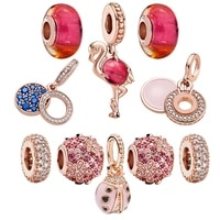 glass beads ladybug diy pendant anillos pandora plata de ley 925 original fine jewelry for woman crystals jewelry making