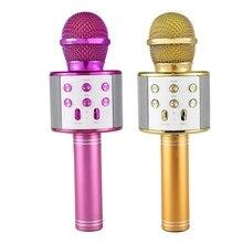 2 Stuks Draadloze Karaoke Microfoon Draagbare Bluetooth Mini Home Ktv Voor Muziek Spelen En Zingen Speaker - Gold & Purple