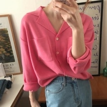 Women Sweater Pullover Chic Autumn And Winter Very Simple Style Suit Collar Casual Versatile Long Sl