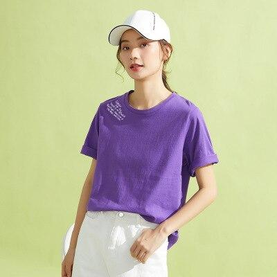 Camiseta a la moda para mujer, Camiseta holgada con cuello redondo de color liso, manga de cinco puntos