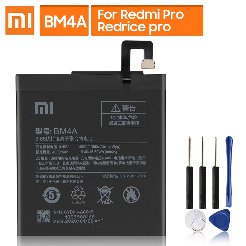 Original Replacement Battery For Xiaomi Mi Redmi Pro Redrice pro BM4A Genuine Phone Battery 4050mAh недорого