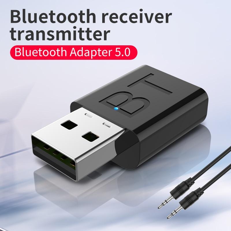 Receptor y transmisor de Audio Bluetooth 5,0 con USB, adaptador de puerto AUX inalámbrico, sin unidad, de uso directo, transmisión sin barrera de 10M