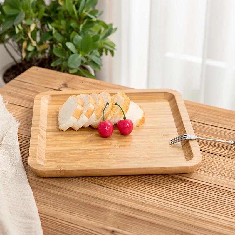 مربع الشكل الخيزران عموم لوحة أطباق الفاكهة الصحن الحلوى عشاء الخبز لوحة صينية الشاي