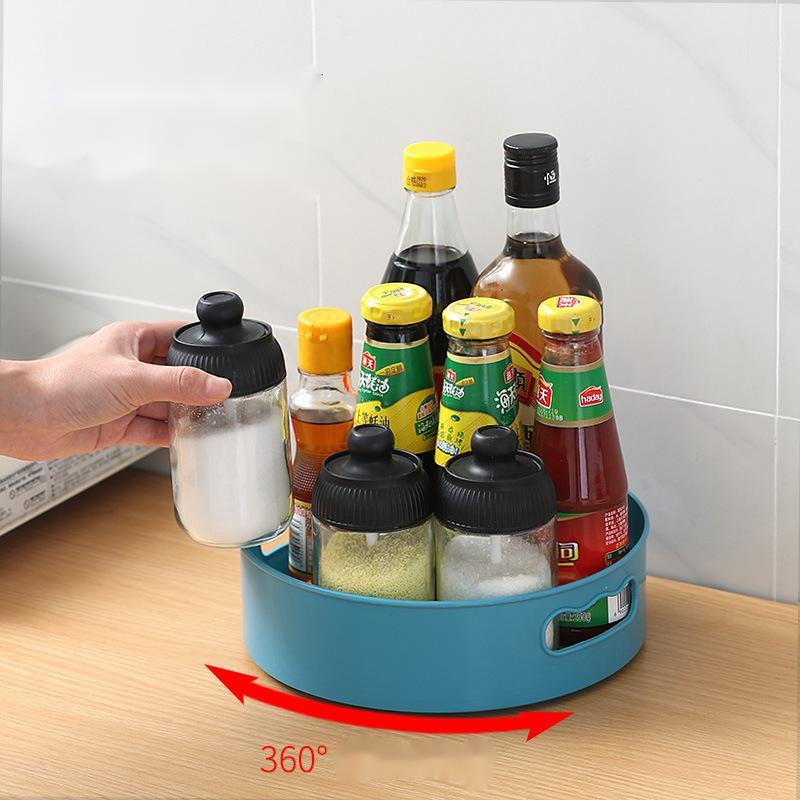 Кухонный поднос с вращением на 360 градусов, кухонные контейнеры для хранения специй, закусок, фруктов, тарелка для еды, нескользящий поднос для хранения сушеных продуктов в ванной комнате-1