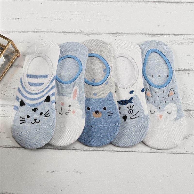 27 Style 10 Piece=5 Pairs/Lot Cute Harajuku Animal Women Socks Set Funny Spring Cat Dog Rabbit Panda Low Cut Short Sock Happy
