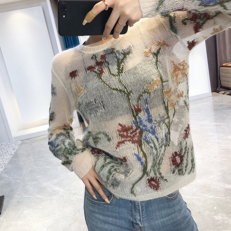 20 Early Autumn Female Cashmere Knitting Pullovers Sweater Women Embroidery Hollow Out Vintage Mohair Sweater Top tricot femme enlarge