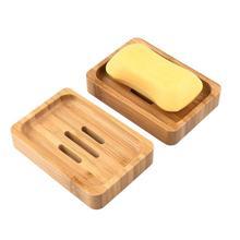 Porte-plateau assiette savon en bois bambou   2 pièces, porte-savon en bois naturel, boîte à savon, conteneur pour baignoire-douche, assiette salle de bain
