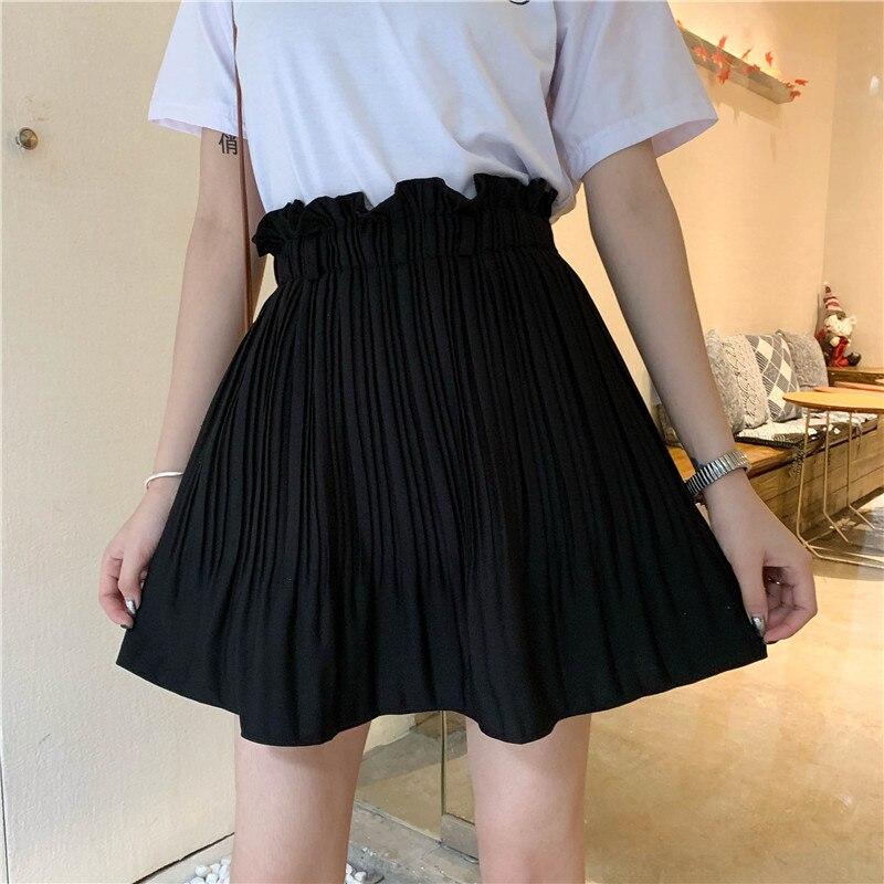 Джинсовые шорты, с завышенной талией, мини-юбка плиссе черная юбка Женский 2021 шифоновая юбка свободного покроя сплошной Цвет y2k с высокой та...