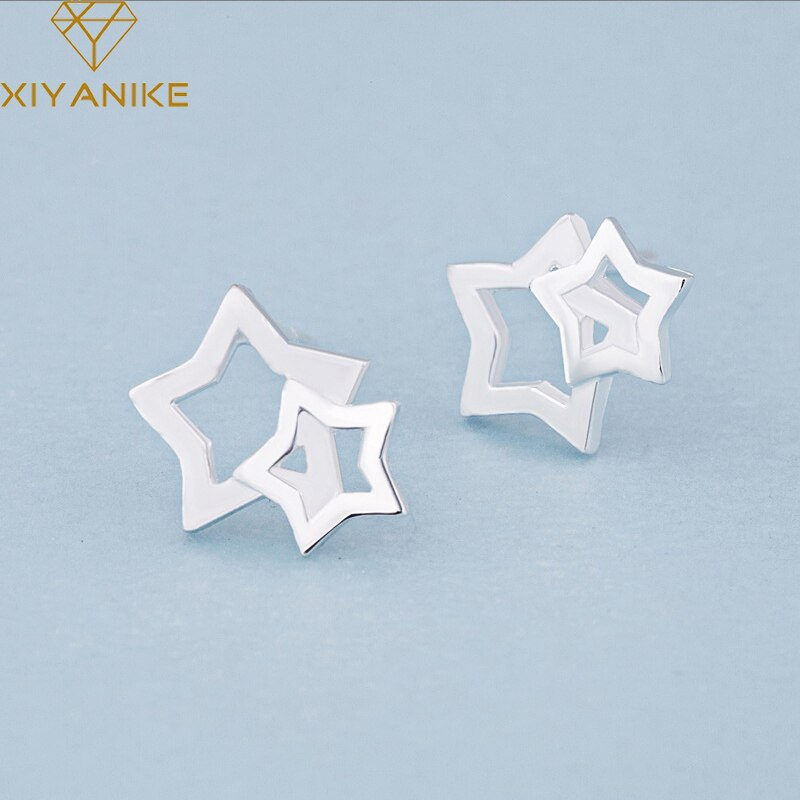 XIYANIKE 925 Sterling Silver Hot Sale Hollow Five-pointed Star Stud Earrings For Women Design Creative Small Jewelry