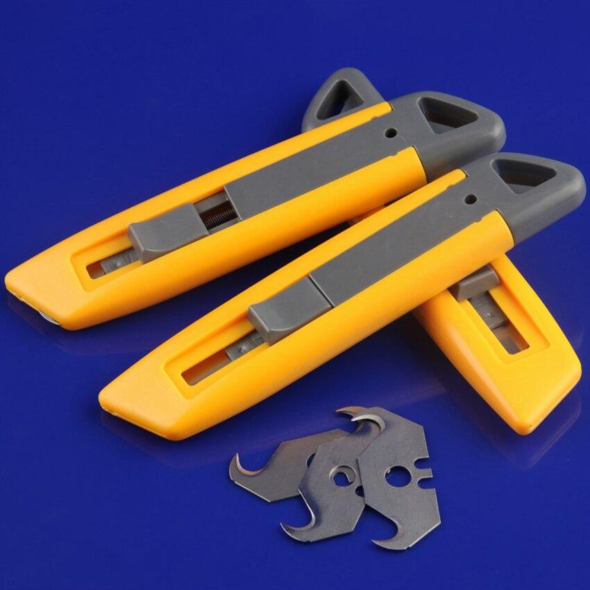 1 pc caixa cortador de tapete cortador com aço carbono gancho lâmina x1, retrátil snap fora utilitário faca de corte de tapete viciado faca