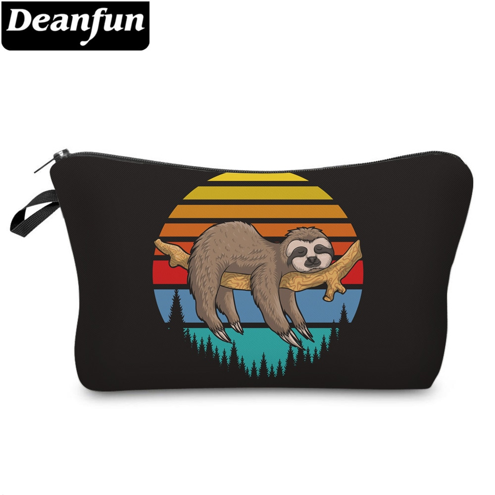 Deanfun Printing Sloth Cosmetic Bag Forest Black Makeup Bag Waterproof Organizer 52014
