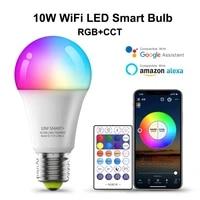 Ampoule intelligente WiFi  lampe LED RGB E27  10W  fonctionne avec Alexa Google Home  RGB  fonction de minuterie variable  telecommande magique
