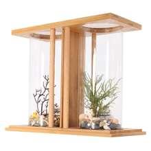 Mini Aquarium bambou   Mini plante double verre clair, réservoir de poissons, éclairage de jour, poisson rouge de bureau, décoration paysage, accessoire daquarium