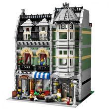 99015 ville rue vue 15008 vert épicier modèle bloc de construction briques jouets créateurs ville rue maison jouet pour les enfants