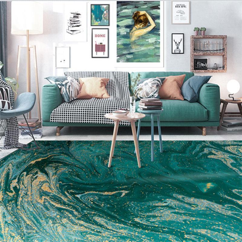 Tapis pour salon tapis de noël abstrait eau de mer vert or motif tapis nordique décoration maison bébé tapis de sol