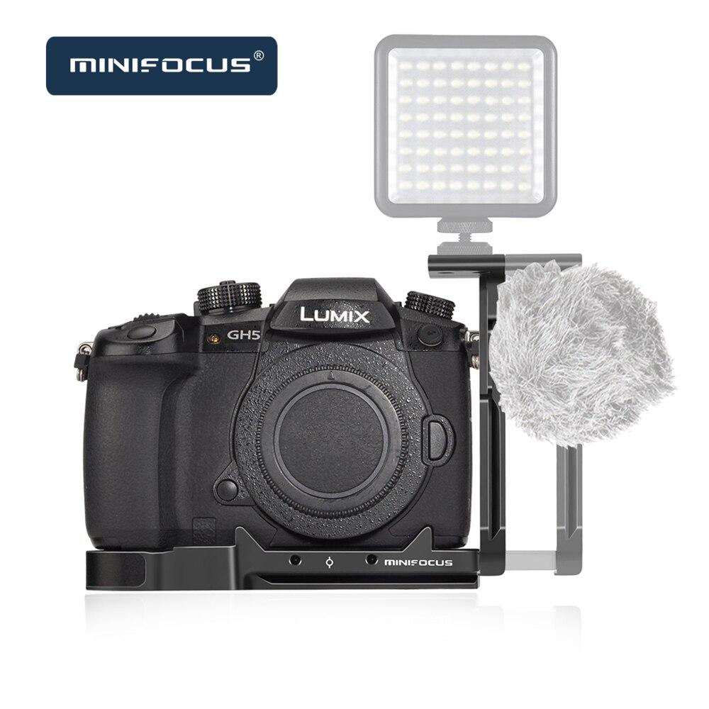 Minifocus Placa de liberación rápida en L con soporte de zapata fría para Panasonic Lumix GH5/GH5S media jaula vlogs Cámara