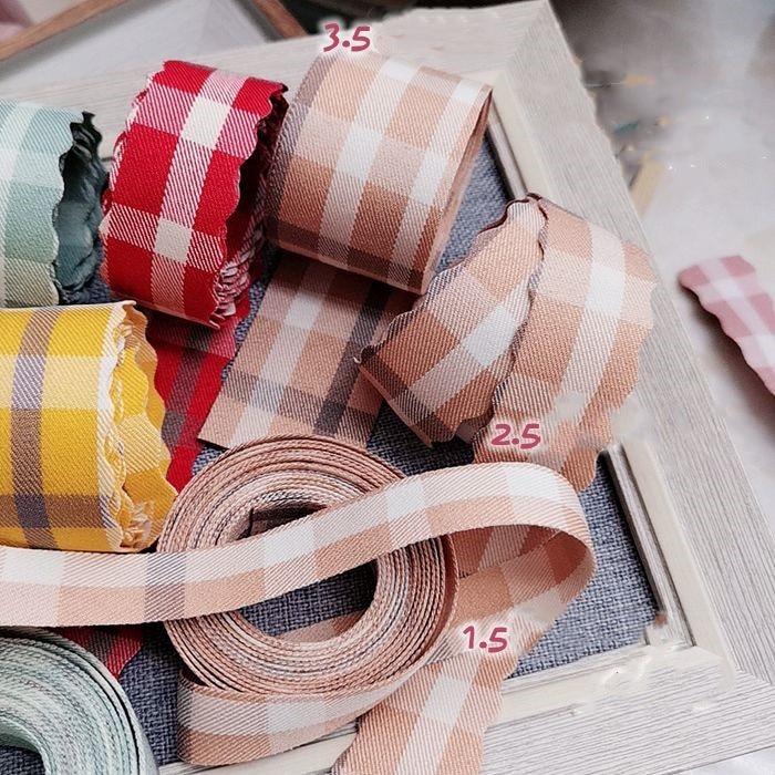 "Kewgarden Plaid Ribbons 35mm 25mm 15mm 1.5"" 1"" DIY Bowknot Accessories Cotton Satin Ribbon Handmade Tape Webbing 5meter"