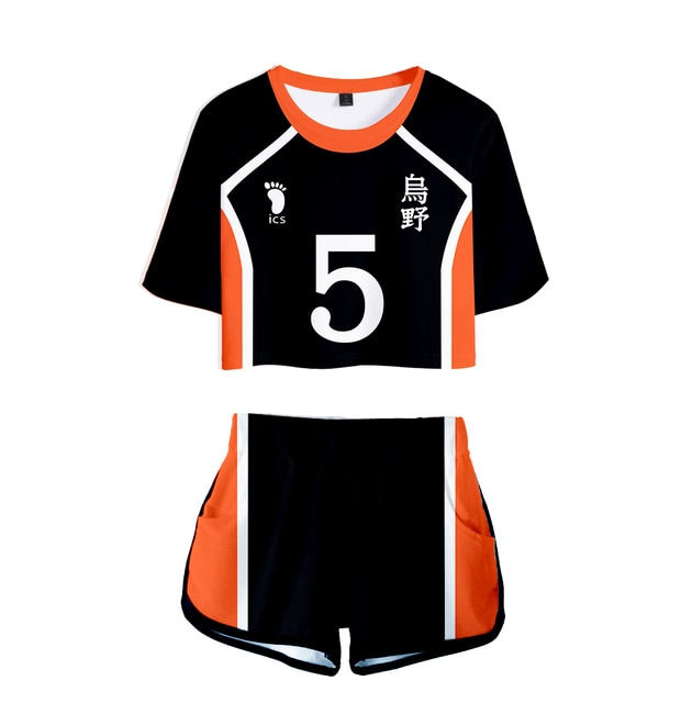 Popular Dew navel Sport bokuto akaashi Suit Women Two Pieces sets Volleyball Haikyuu Jersey Figure T-shirts+shorts Pants Clothes 4