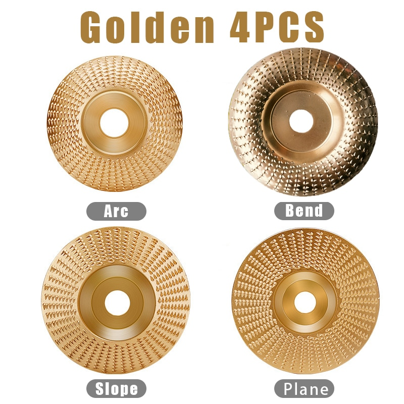 4Pcs Set Wood Grinding Polishing Wheel Rotary Disc Sanding Wood Carving Tool Abrasive Disc Tools for Angle Grinder 4inch Bore