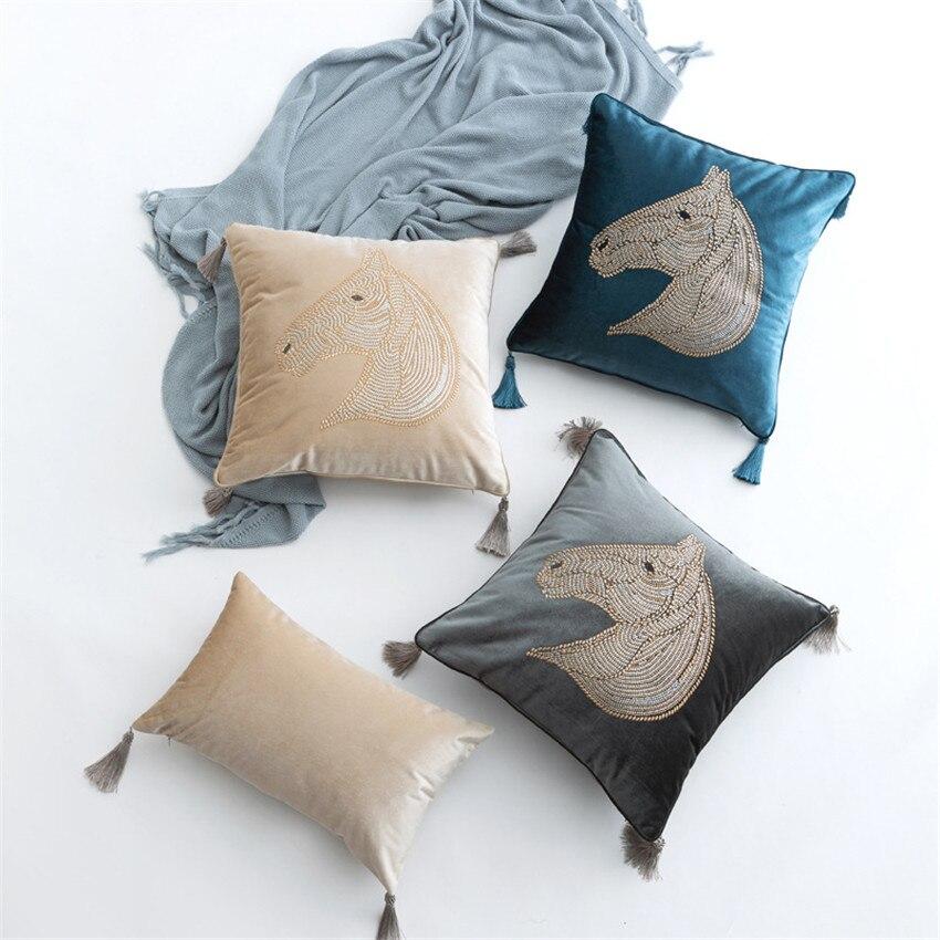 45x45cm, funda de cojín rosa con cabeza de caballo para sofá, funda de almohada, funda de almohada para hogar, sofá cama, silla decorativa 17,72x 17,72 pulgadas