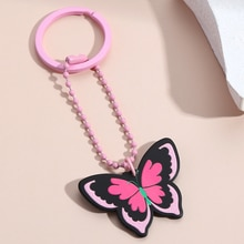 Cute Headphone Cover Keychain Colorful Butterfly Key Ring School Bag Decor For Girls Teens Handmade