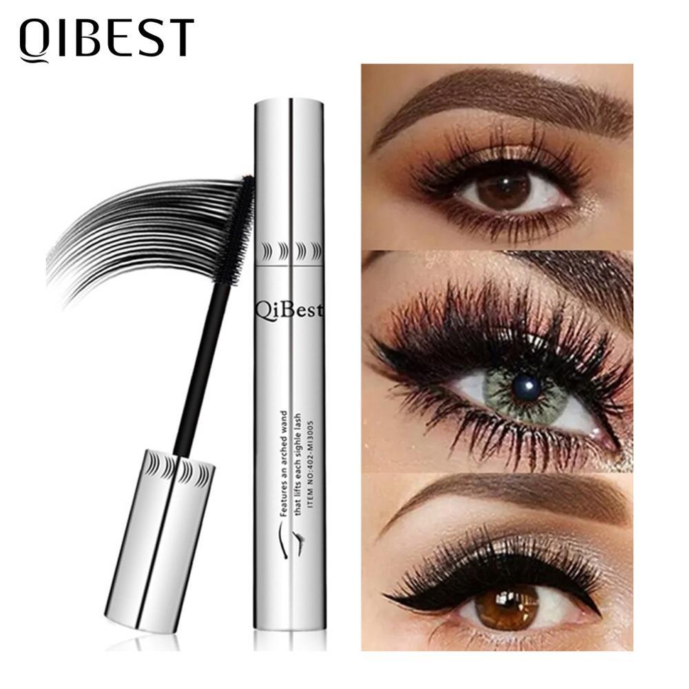 QIBEST Black Mascara Eyelashes Mascara 4D Silky Eyelashes Lengthening Eyelashes Makeup Waterproof Mascara Volume Eye Cosmetics