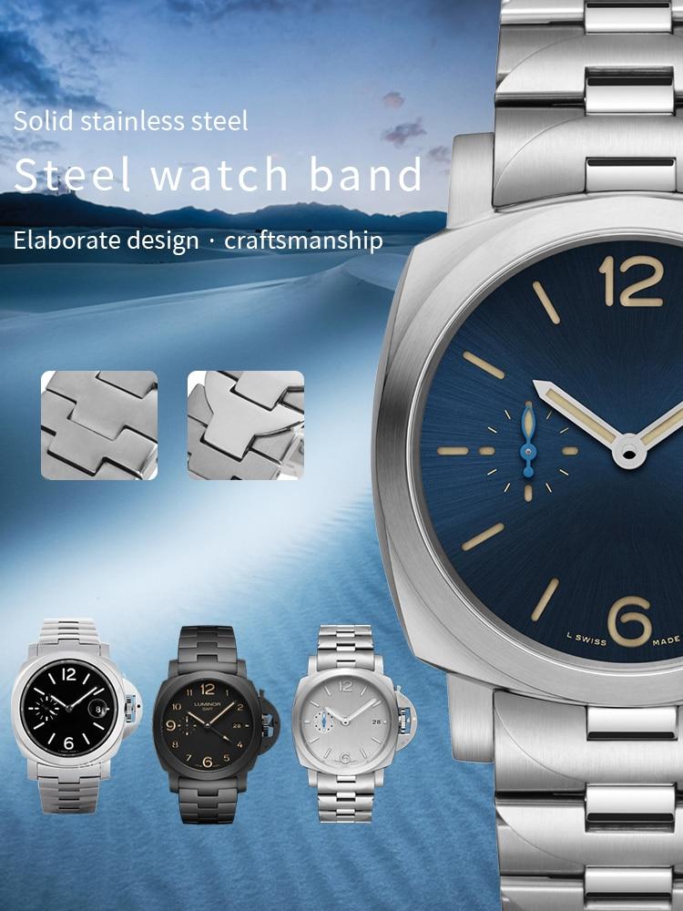 Pulseiras de Relógio Pulseira para Pam Relógio com Ferramentas Qualidade Inoxidável Borboleta Fivela Fecho 24mm Prata Pam01058 Pam00722 Aço