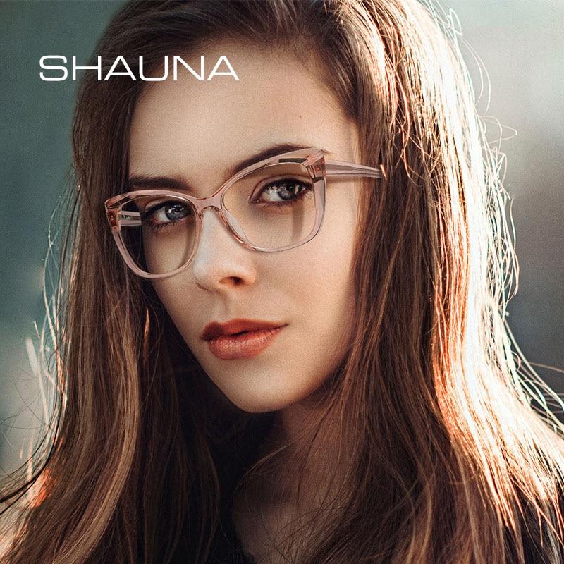 SHAUNA анти-синий светильник с алмазным покрытием TR кошачий глаз оптическая оправа для очков модная весенняя Петля из нержавеющей стали
