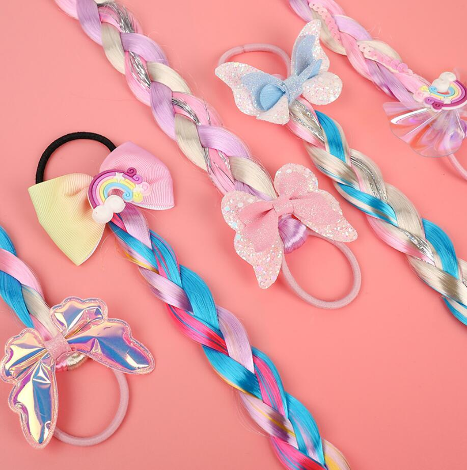 Girls Elastic Colorful Wig Hair Ropes Princess Twist Braid Elastic Hair Bands Ponytail Headwear Fashion Kids Hair Accessories