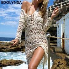 New Arrivals Sexy Beach Cover up Crochet White Swimwear Dress Ladies Bathing Suit Cover ups Beach Tunic Saida de Praia #A33