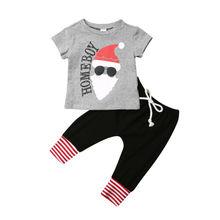 Summer Christmas Baby Boys Newborn Xmas Clothes Santa Claus Top+Pants Xmas Festival Outfits Set